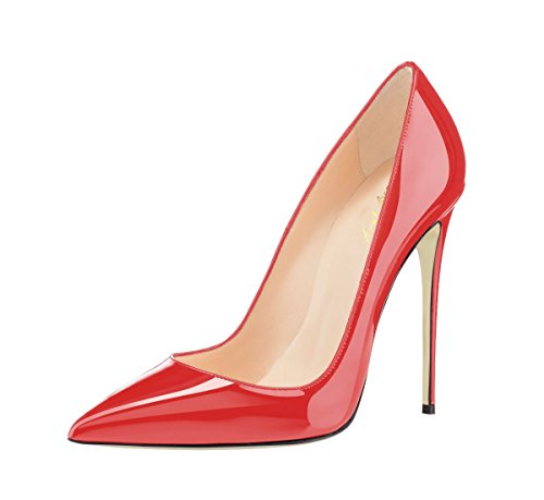SexyPrey Women's Big Size Patent Stiletto High Heels Pointed Toe Pumps Court Shoes for Party Dress Orange Red JdEWG
