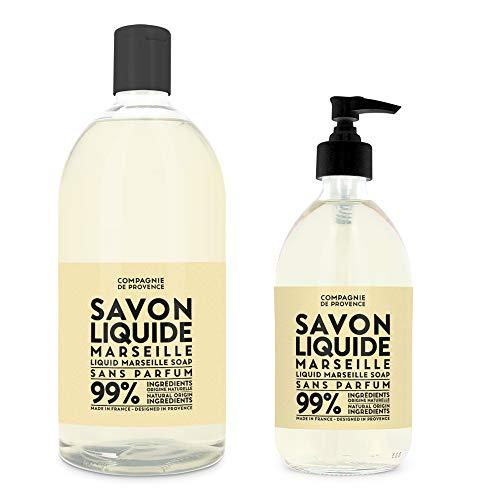 Compagnie de Provence Savon de Marseille Extra Pure Liquid Soap – Fragrance Free – 16.9 Fl Oz Glass Pump Bottle and 33.8 fl oz Plastic Bottle Refill