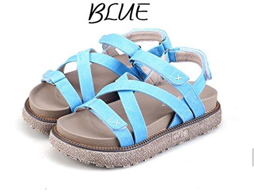 Trabajo Ocio Estilo Blue Romano 5cm De Colores Y Las Compras Del Verano Señoras Los Tres Sandalias Nvlxie Cómodo Grueso Playa Days wRAnPxqw6F