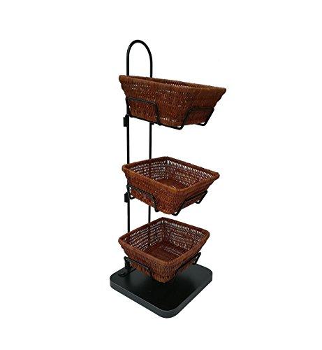 (FixtureDisplays Mini 3 Tier Wicker Basket Stand Impulse Buy Item Rack Countertop 119999-FBA)