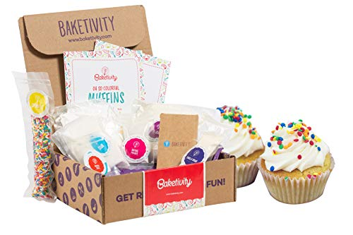 BAKETIVITY Kids Baking DIY Activity Kit - Bake Delicious Funfetti Muffins with Pre-Measured Ingredients - Best Gift Idea for Boys and Girls Ages 6-12