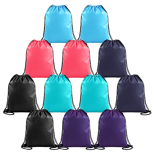 Drawstring Backpacks Cheap for Kids Party Favors Bags Gym Drawstring Bags Bulk (12 Pack-P) by BeeGreen