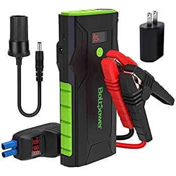 Diesel Engines up to 4L Bolt Power A7P 12V Car Jump Starter 800A Peak Battery Booster for Gasoline Engines up to 6.5L Dual USB Ports and Type-C Portable Power Pack Built-In LED Flashlight