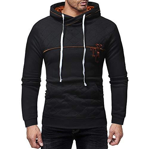 Sunhusing Men's Slim Solid Color Sweater Zipper Decor Plaid Pocket Hoodie ()