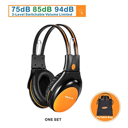 1 Pack of Vehicle Headphone with Adjustable Volume Limiter for Kids, Dual Channel Car DVD Headsets, Wireless Infrared Headphone for Van, Foldable Cordless Car Headsets, Orange ()
