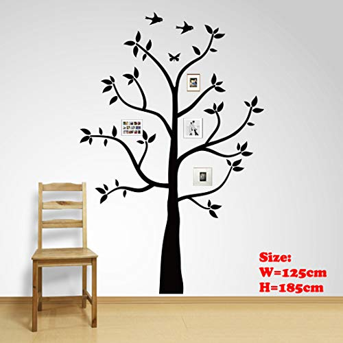Family Tree Wall Decals Wall Sticker Removable Vinyl Mural Art Wall Stickers Kids Room Nursery Bedroom Living Room Decoration (185cmTall) (185X125cm) (Stickers Vinyl Wall)