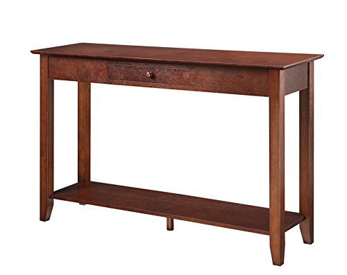 Convenience Concepts American Heritage Console Table with Drawer and Shelf, - Room Cherry Living Frame Futon