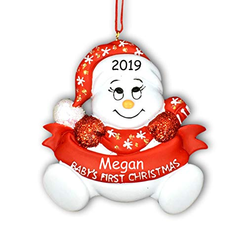 Personalized Baby Boy or Girl Red Glittered Baby's First Christmas Snowman with Santa Hat Stocking Cap Hanging Tree Ornament with Custom Name and Date