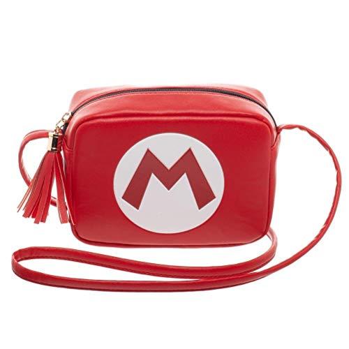 Super Mario Big M Logo Red Crossbody Camera or Purse Bag With Strap and -