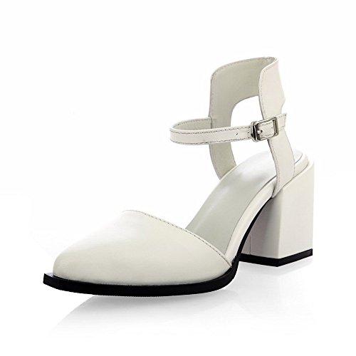 Adee Mujer Sólido pointed-toe Piel Sandalias Blanco - blanco
