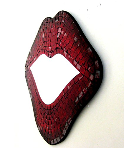 OMA Lips Mirror Wall Art Hanging Decor Kissing Red Lips Mosaic Glass - Large Size, Brand