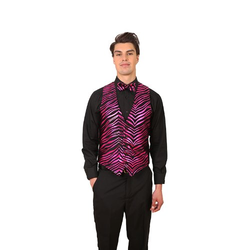 - Men's Black & Fuchsia Zebra Print Vest and Bow Tie Set Small