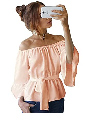 Zhaoyun Womens Off Shoulder Shirt Strapless Blouses Chiffon Casual Tops Pink-S