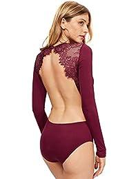 Women's Long Sleeve Backless Lace Applique Bodysuit