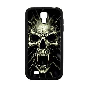 Scary Skull Black background personalized creative clear protective cell phone case for Samsung Galaxy S4 by lolosakes
