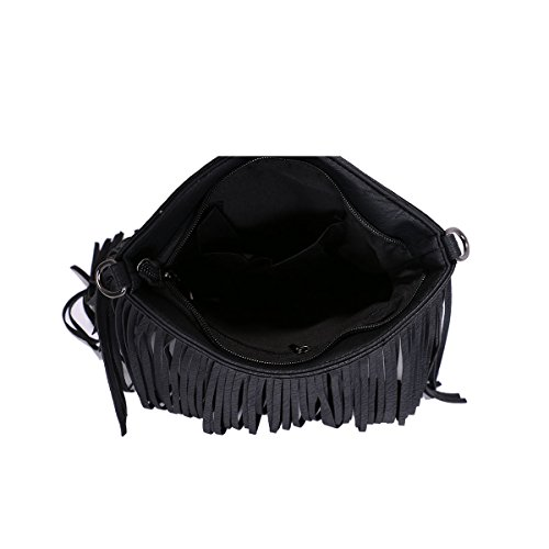 Cross Bag Tassel Faux body Ladies Black Fringe Shoulder Messenger Leather Small xz6qwq01Z