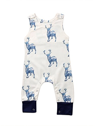 Urkutoba Infant Baby Boy Girl Jumpsuit Pajamas Reindeer Sleepwear Xmas Deer Coveralls Outfit Clothing Set (Apricot, 6-12 Months) Apricot Sleeveless