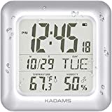 KADAMS Large Digital Bathroom Shower Wall Clock, Waterproof for Water Spray, Temperature Humidity, Moisture Proof, Water Resistant, Calendar Month Date Day, Suction Cups Hole Stand Rope Clock [SILVER]