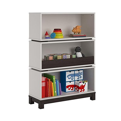 Altra Leni White and Coffee House Plank Storage Bookcase by Cosco, Laminate, MDF