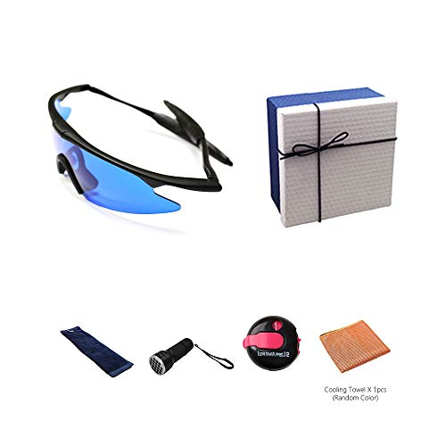 POSMA GS-SGG060A Golf Ball Finder Glasses Retriever Gift Set Including UV Golf Ball Finder Torch Golf Club Ball Cleaning Towel Cooling Towel and One Touch Reset Stroke Counter in an Elegant Gift Box