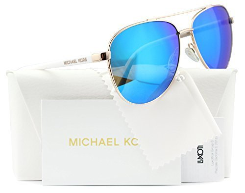 Michael Kors Hvar Sunglasses MK5007 Rose Gold / Blue Mirror 1045/25 - Kors Michael Glasses Blue