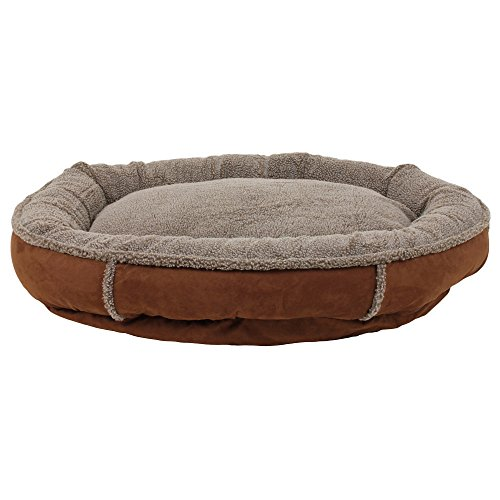 1 Piece Chocolate Medium 36 Inches Bolster Round Comfort Pet Bed, Dark Brown Color Comfy Cup Style Indoor Bed For Puppy Dog, Raised Sides Joints Support Removable Cover, Loft Polyester Faux (Berber Comfy Cup)