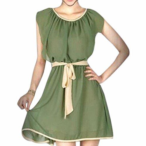 Robe Sans Manches Rondes Cou En Mousseline De Soie Femmes Grande Balan?oire Taille Mince Robes Occasionnels