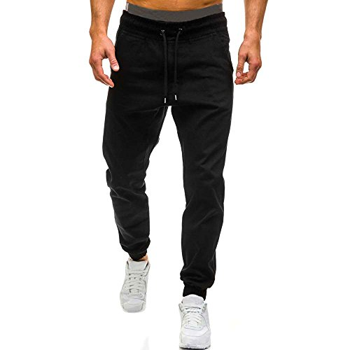 Men's Activewear Pants with Drawstring,Men Autumn Winter Casual Tether Elastic Design Pants BK/L