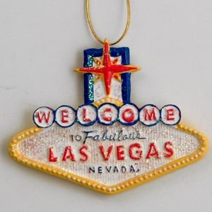 Las Vegas Christmas Ornament Sign Shape Ceramic With Glitter