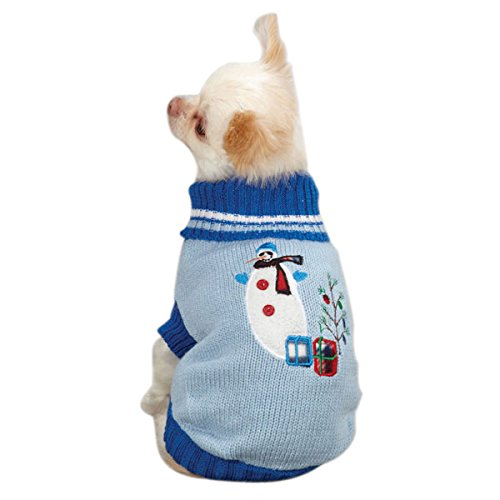 16-Inch East Side Collection Acrylic Deck the Halls Dog Sweater, Medium, 16-Inch, bluee