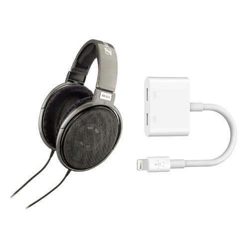 Sennheiser HD 650 Audiophile Open-Back Dynamic Headphones + Belkin Lightning Audio + Charge RockStar iPhone Adapter, Splitter Enables Lightning Audio and Charging At the Same Time, MFI Certified, Compatible for iPhone 7, iPhone 7 Plus - White