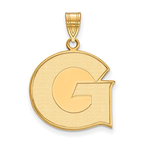 Jewelry Stores Network Georgetown University Hoyas School Letter Logo Pendant Gold Plated Silver L - (20 mm x 20 mm)