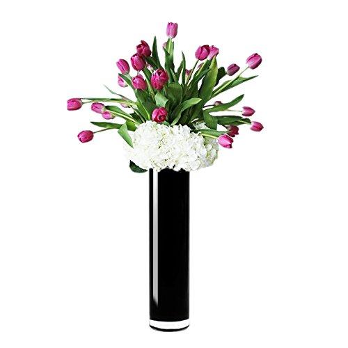 CYS GCY109BK-4P Black Cylinder Vase (4 Pack), 16