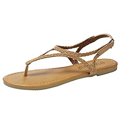 SANDALUP Flat Sandals for Women w Flannel Braided and Adjustable Metal Buckle Brown Size: 5