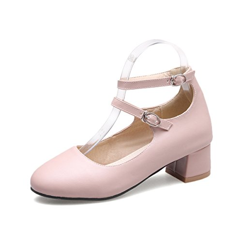 Mei&S Puntera Redonda Mujer Tacones Bloque Boca Superficial Zapatos Pink