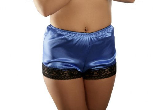 Nine X - French Satin Knickers With Lace Trim S-3XL, Many Colours Blue XL