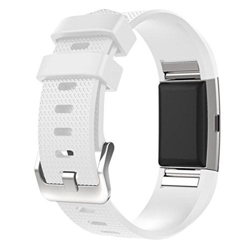For Fitbit Charge 2 Bands, FreshZone Accessories Replacement Silicone Watch Band Wristband for Fitbit Charge 2 (No Tracker) (White)