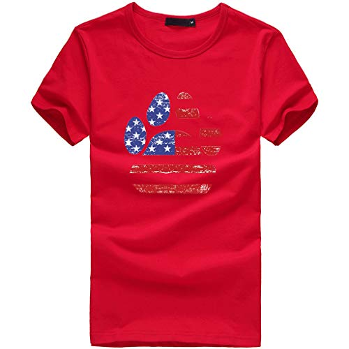 Sunhusing Ladies Independence Day Star Stripe Flag Pattern Dog Claw Shape Printed Short Sleeve T-Shirt Red