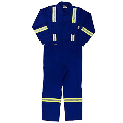 Oil and Gas Safety Supply Flame Resistant FR Reflective Coverall with Leg Zippers (49/XL, Blue)