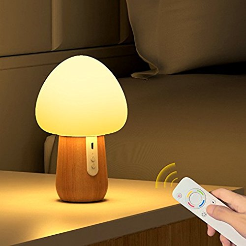 NTMY Night Lights for Kids, LED Baby Night Light Bedside Lamp with Wireless Remote, Safe Silicone + Beech, Eye Caring ,5 Different Colors and 4 Modes, USB -
