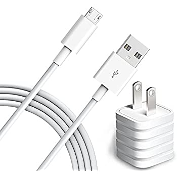 Charger, 6ft Micro USB Cable with USB Power Adapter for Samsung Galaxy S7 S6, Note, LG, Nexus, Nokia, PS4, Xbox One Controller (White)