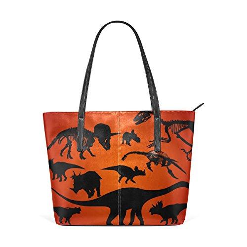 Tote Bag Sacchetto E Borse Spalla Per Medio Borsa Muticolour Silhouette Le Della Coosun Dinosaur Del Pu Donne SUqPfxvnwp