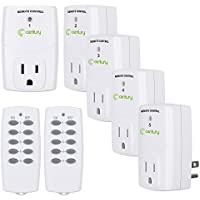 5-Pack Century Mini Wireless Outlet Switch w/2 Remote Controls