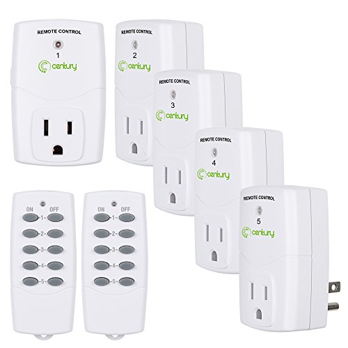 (Century Mini Wireless Remote Control Outlet Switch Power Plug In for Household Appliances, Wireless Remote Light Switch, LED Light Bulbs, White (2 Remotes + 5 Outlets) Value Pack)