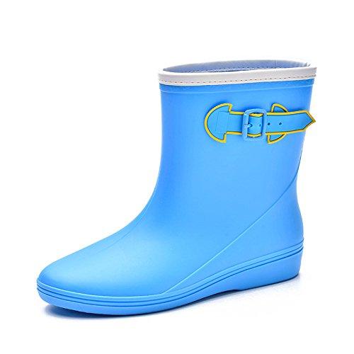 Women Non-slip Mid-Calf Flat Low Rain Boots Waterproof PVC Ankle Boots Rubber Rain Shoe Flat Boots blue