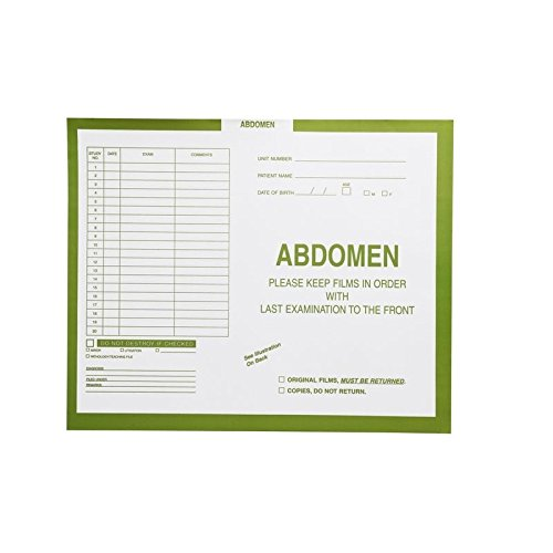 Abdomen, Yellow/Green #381 - Category Insert Jackets, System I, Open Top - 14-1/4'' x 17-1/2'' (Carton of 250)