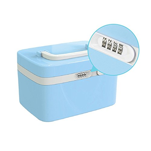 Combination Lock Medicine Cabinet With Separate Compartments, Prettyui Locking Case Storage Box for Cosmetics Medical Supplies