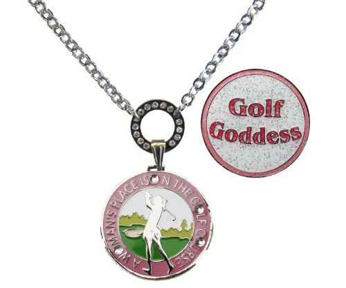 Magnetic Ball Marker Necklace with A Woman's Place is on The Golf Course Accented with Genuine Swarovski Crystals and Glitzy Golf Goddess ()