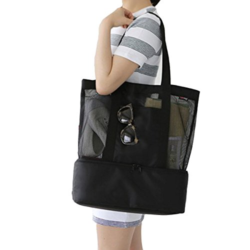 Beach Picnic Tote Bag - Youndcc Mesh Beach Tote Bag Shoulder Bag Travel Bag with Insulated Picnic Cooler