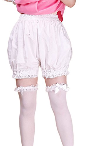 VSVO Women's Lolita Lace Short White Bloomers (Free size, (Ruffle Bloomers For Adults)